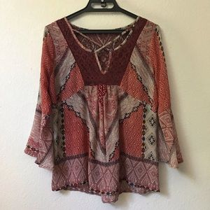 Maurices Aztec print lace trim boho hippie blouse